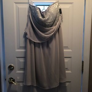 NWT silver grey sequin strapless dress size 14